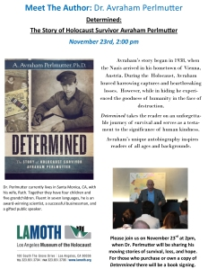 Promotional Flyer for Avraham's talk at LAMOTH on November 23
