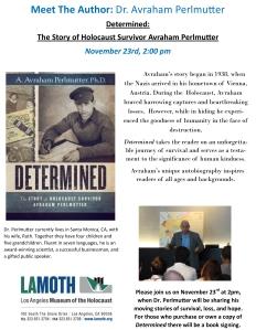 Promotional Flyer for Avraham's talk at LAMOTH on November 23